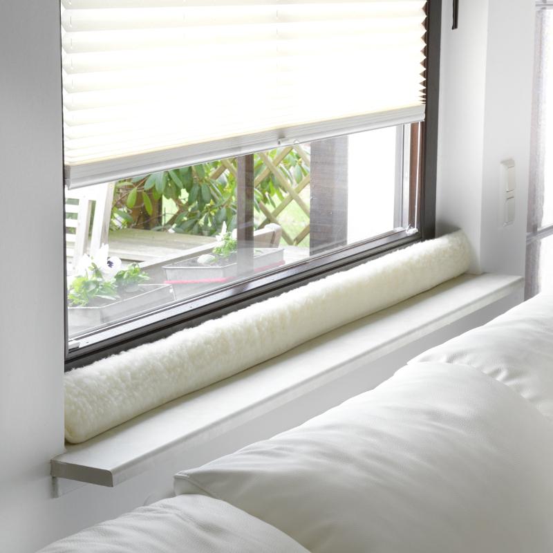 551 Zugluftstopper für Fenster aus Schurwolle, natur