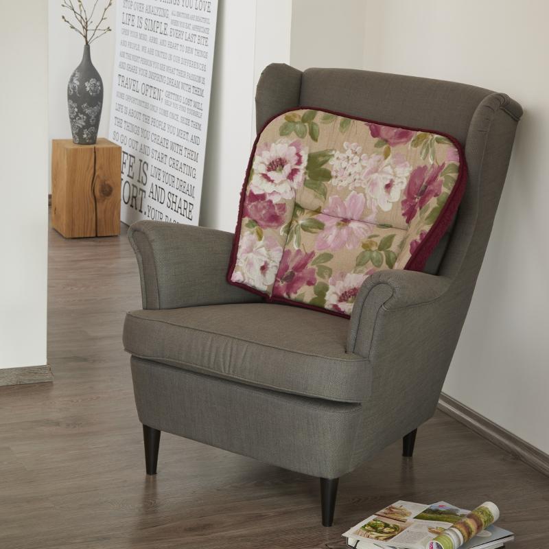 59930 Komfort-Sesselkissen mit Wendefunktion, Bordeaux / Baumwolle Louna
