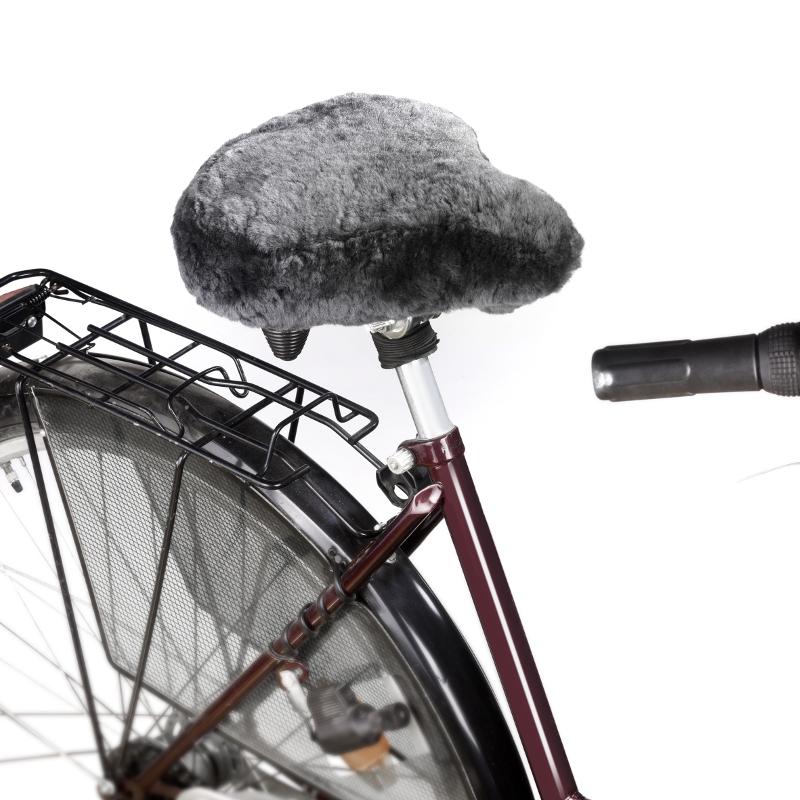 830 Fahrradsattelbezug aus echtem Lammfell, anthrazit